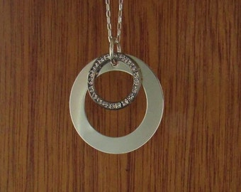 Sterling Silver Washer With Swarovski Crystal Ring