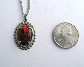 Red Paua Shell Pendant set in retro silvertone mounting with chain 12215-10