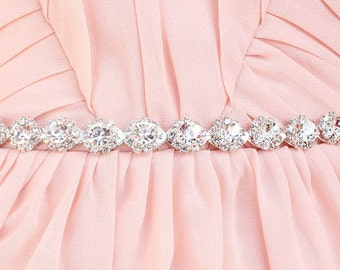 Thin Crystal rhinestone belt  Thin Bridesmaid belt Thin bridal sash Silver bridal belt Bridal headband  beaded belt for wedding dress