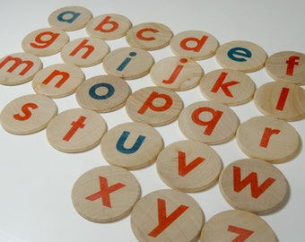 wooden montessori lowercase alphabet magnets - montessori alphabet magnets - montessori ABC magnets - montessori red and blue alphabet