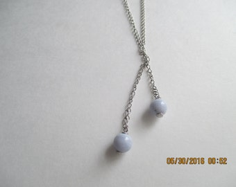 Blue Lace Agate Necklace...Sterling Silver..long..New..Nice Look..