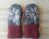 Gray Snowflake Wool Mittens // LoveWoolies Sweater Mittens // upcycled wool mittens