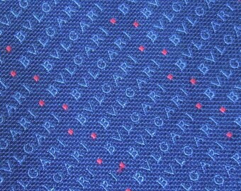 Bvlgari Tie Woven Silk Signature Pattern Blue Vintage Davide Pizzigoni Designer Dress 7 Fold Necktie Made In Italy