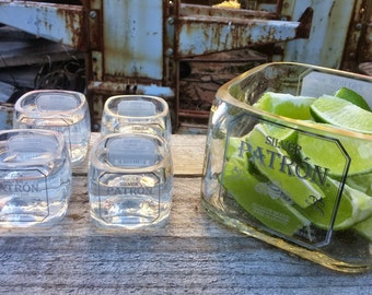 Patron Shot Glass Set with Lime Serving Dish, Tequila Glasses, Patron Bottle, Patron Tequila Drinking Glass, Tequila Gift, Upcycled, Shot