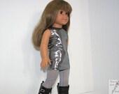 18 Inch Doll Silver Sheath Dress & Gray Leggings for 18 Inch Dolls such as American Girl, Our Generation, Madam Alexander
