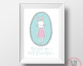 Be your own kind of beautiful, wall print, wall decor, kids room, nursery, baby room, girls room, girls interiors, wall art, bunny, tween