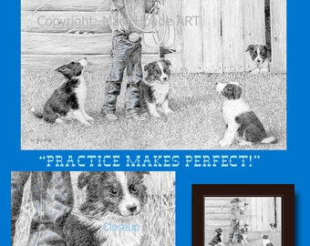 """Practice Makes Perfect - Matted 11"""" x 14"""" Print - ready for framing"""