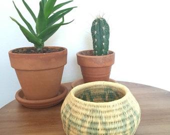 Small Coiled Basket, Boho Decor