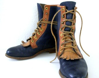Vintage 80s Two Tone Justin Kiltie Lace Up Boots Navy Blue & Tan Ankle Boots 1980s Boots Size 6