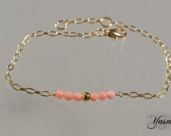 Goldfilled faceted coral bracelet