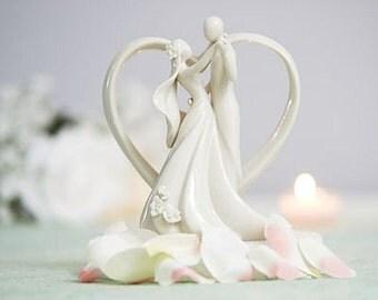 Porcelain Dancing Couple Wedding Cake Topper