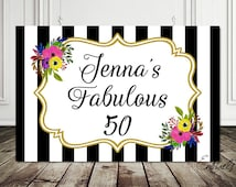 Birthday Backdrop - Fabulous 50 Birthday sign - Party Backdrop - sign poster, banner