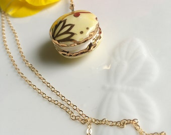 Gold Macaroon Necklace with 22k Gold Accents and 14k Gold Fill Chain with Double Sided Design