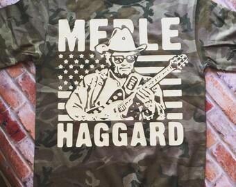 Boys 100% cotton camo merle haggard shirt.