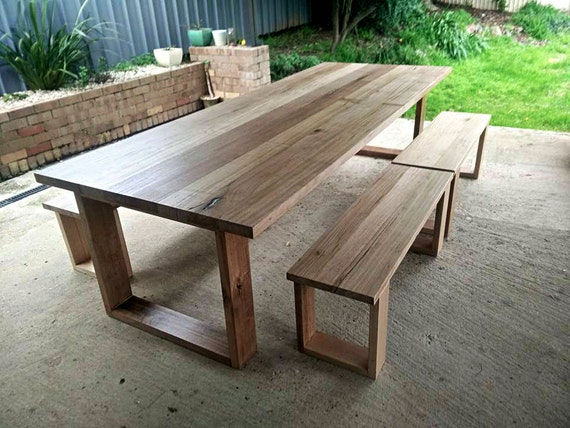 Hoop Leg Dining Table And Optional Bench Seats Australian