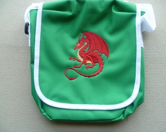 Red Dragon Bag Welsh Wales Embroidered Shoulder Handbag Reporter Messenger Green Red White