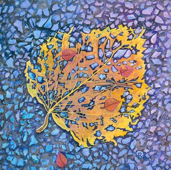 Boundries, original painting in acrylic of autumn leaves breaking down
