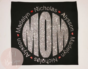 Mom Monogram Vinyl Shirt with Kid Names