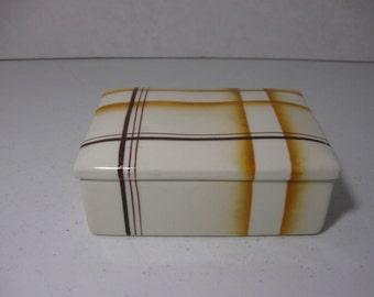 Vintage Erphila Ceramic Box With Lid  Brown Lines  Czechoslovakia
