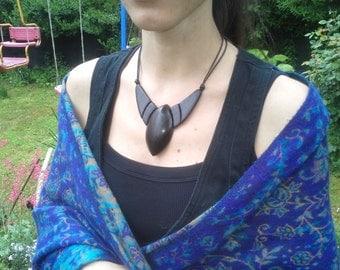Wooden necklace, bog oak wood, for women, wooden jewelry