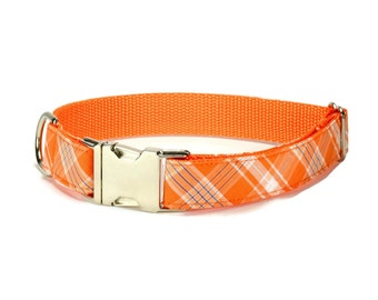 Orange Plaid Dog Collar, Fall Plaid Dog Collar, Autumn Plaid Dog Collar, Preppy Dog Collar, Orange Dog Collar, Fall Dog Collar, Male Collar