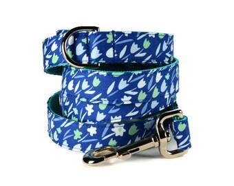 Blueberry Tulip Dog Leash, Floral Dog Leash, Blue Dog Leash, Blue Floral Dog Leash, Girly Dog Leash, Leash For Girl Dog, Floral Leash
