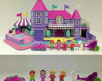 1994 Vintage Polly Pocket Pink Magical Mansion COMPLETE with RARE FLAGS