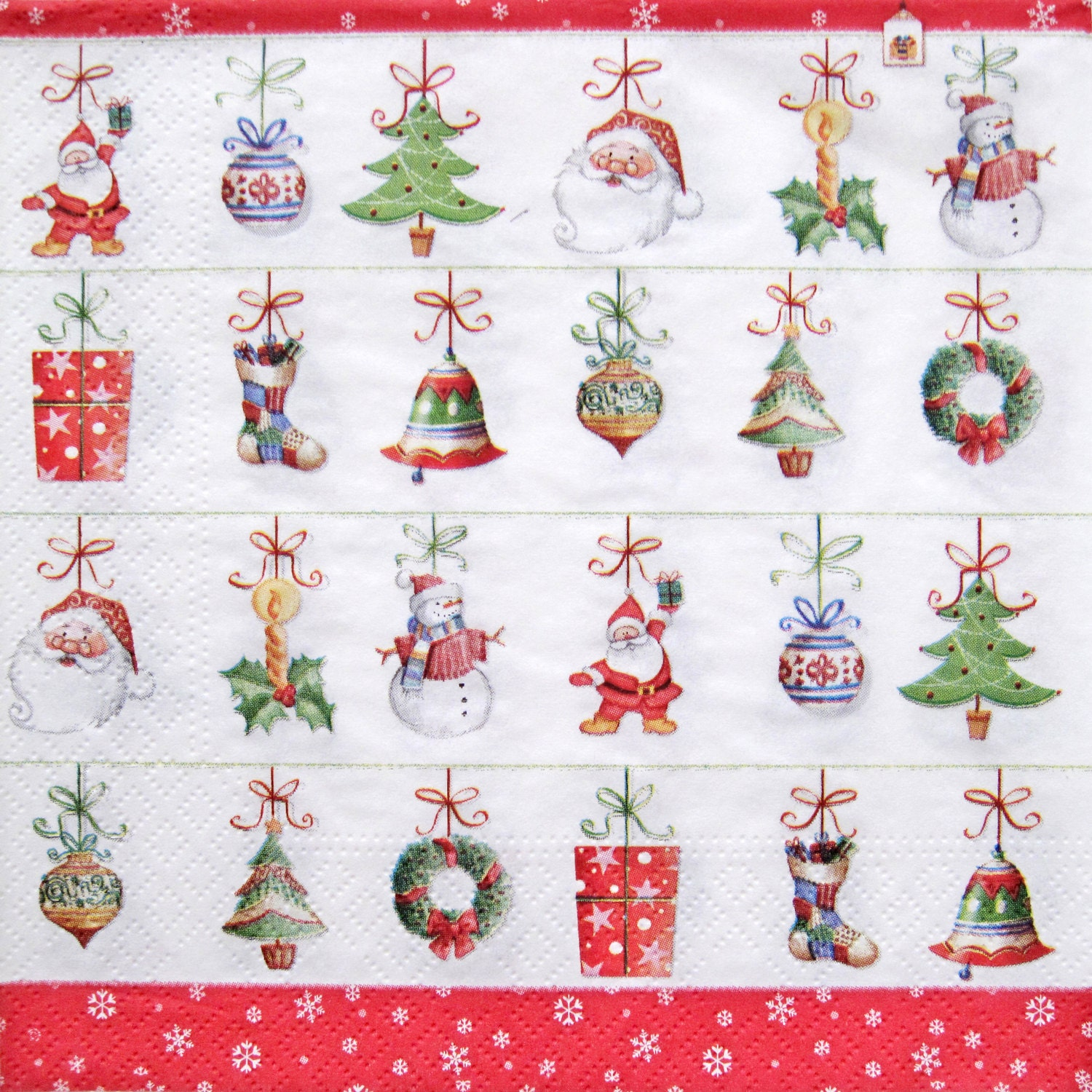 Decoupage paper napkins christmas hanging ornaments for Where can i get christmas decorations