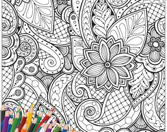SALE 65% OFF Printable Colouring Page for Adult : Floral Design 3 - Digital Illustration, Line Art Drawing