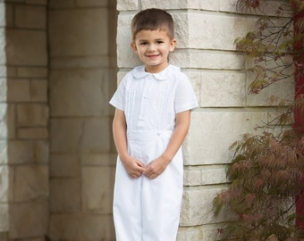 Boys Special Occasion Outfit - Heirloom Outfit for Weddings, Portraits, Christenings and Baptisms Ring Bearer White Ivory Boy Baptism outfit