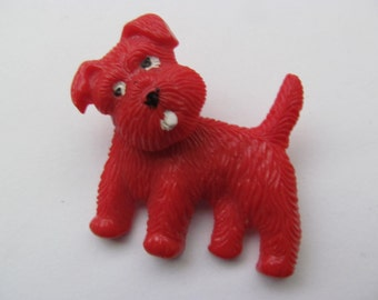 Vintage Plastic Terrier Dog Pin - Movable Head