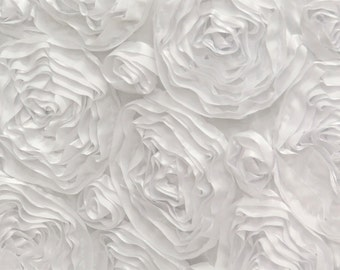 """White Satin Rosette Fabric 