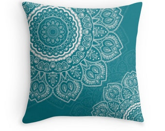 Teal Mandala Decorative Throw Pillow Cover - Custom, Square, Rectangular, Double-sided print, Indoors, Outdoors, Mandala, Boho, Gift, Dorm