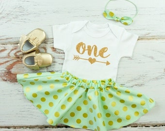 Mint and Gold Dot Twirl Skirt Outfit, 1st Birthday Skirt Outfit with Knotted Headband | Gold One With Arrow Birthday Outfit