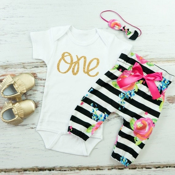 Baby Girls 1st Birthday Outfit Black and White by ...