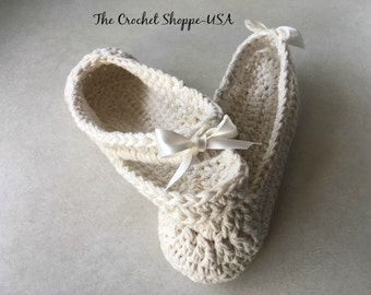 Crochet Slingback Slippers for the Bride with Ribbon bow on Back Strap-Ecru Cream Slippers Shoes Bride Slippers Made to order