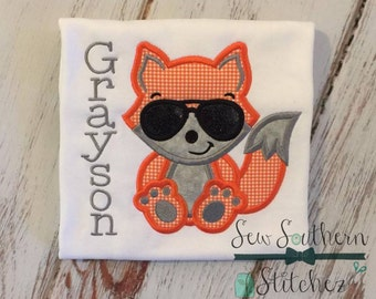 Foxy Fox Applique Design ~ Cool Dude Sunglasses ~ Instant Download