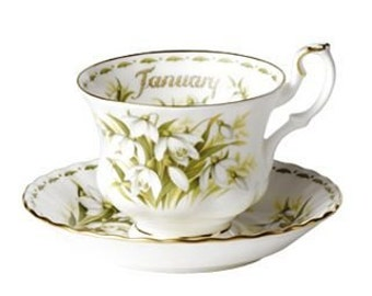 Royal Albert - Flower of the month - Tea cup & saucer - January - Snowdrops