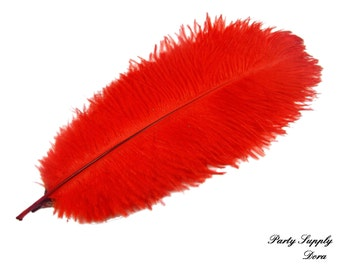 50pcs red ostrich feather for wedding table centerpiece    Samba accessories