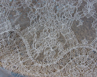 Chantilly Lace fabric off white for Shawls, Mantilla, Victorian Gowns, Lingerie -1meter-001