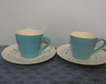 Royal China Blue Heaven Cups and Saucers Set of two (2)