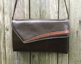Bag Vintage/ 80s/ genuine leather/ brown/ shoulder/ internal/ zip/ height 19 cm