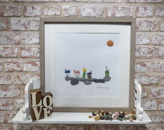 Sea Glass and Pebble Art, Limited Edition, Beach Houses