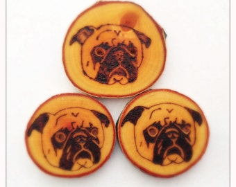Wood burned pug button
