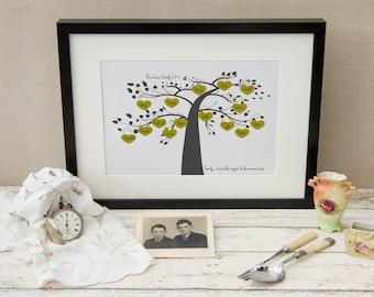 Personalised Family Tree ~ Unframed Family Tree Art Print ~ Father's Day Family Tree ~ Family History ~ Genealogy Chart ~ Personalised Art