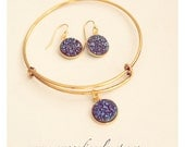 Set! Bangle Bracelet And Earrings With Purple/Blue Sparkly Druzy Bezel