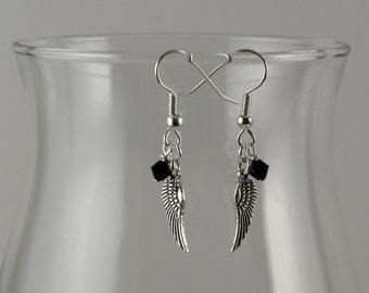 Jet black Swarovski crystal and angel wing earrings