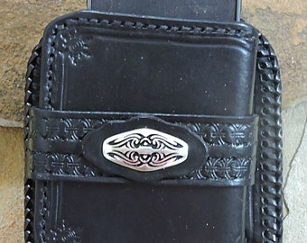 Leather Phone Holster, Handmade Leather Phone Case for Samsung Note 4, 5. Biker Tribal Style Phone Case
