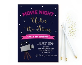 Movie Night Birthday Invitation - Under the Stars Outdoor Movie Party - Backyard Movie Birthday Invite -  Girl Movie Printable Invitation