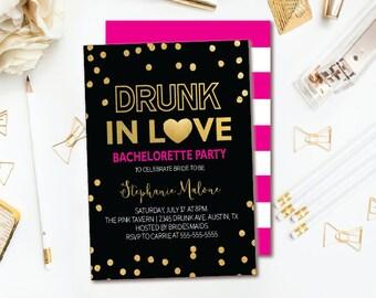 Drunk in Love Bachelorette Party Invitation - Black Pink & Gold Confetti Bachelorette Invitation - Pink Stripe Double-sided Printable Invite